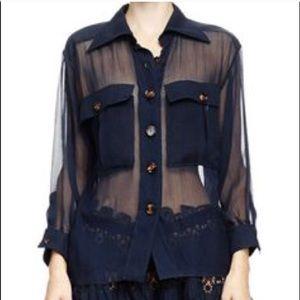 Chloe Sheer midnight navy blouse